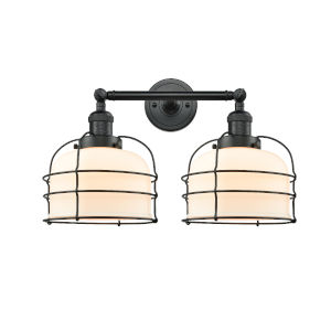 Large Bell Cage Matte Black Two-Light LED Bath Vanity with Matte White Cased Glass