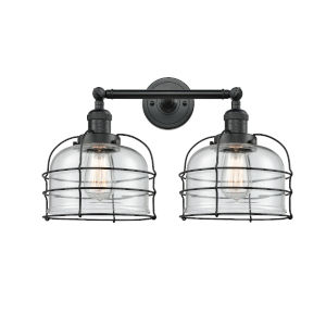 Large Bell Cage Matte Black Two-Light LED Bath Vanity with Clear Glass