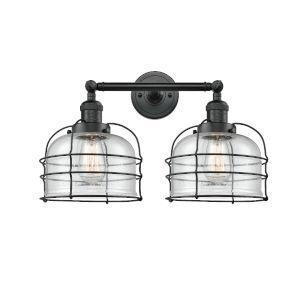 Large Bell Cage Matte Black Two-Light LED Bath Vanity