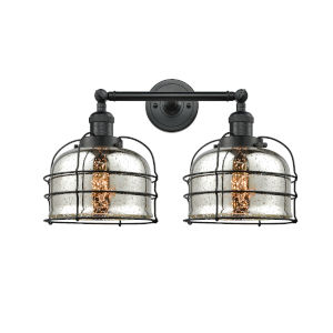 Large Bell Cage Matte Black Two-Light LED Bath Vanity with Silver Plated Mercury Glass