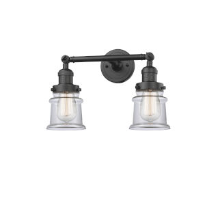 Franklin Restoration Oil Rubbed Bronze 17-Inch Two-Light Bath Vanity with Clear Glass Shade