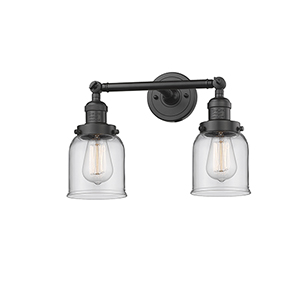 Small Bell Oiled Rubbed Bronze 16-Inch Two-Light Bath Vanity with Clear Bell Glass