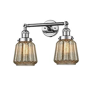 Chatham Polished Chrome Two-Light LED Bath Vanity with Mercury Fluted Novelty Glass