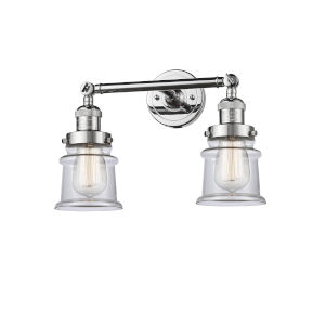 Franklin Restoration Polished Chrome 17-Inch Two-Light Bath Vanity with Clear Canton Shade