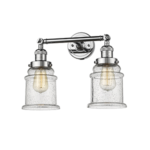 Canton Polished Chrome Two-Light LED Bath Vanity with Seedy Bell Glass