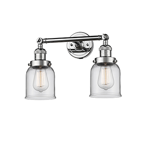 Small Bell Polished Chrome Two-Light LED Bath Vanity with Clear Bell Glass