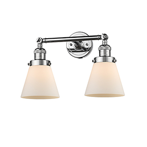 Small Cone Polished Chrome Two-Light Bath Vanity with Matte White Cased Cone Glass