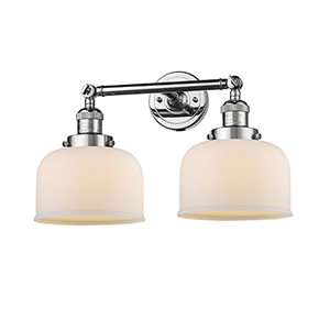Large Bell Polished Chrome Two-Light Bath Vanity with Matte White Cased Dome Glass