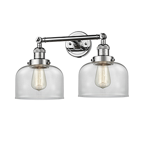 Large Bell Polished Chrome Two-Light Bath Vanity with Clear Dome Glass