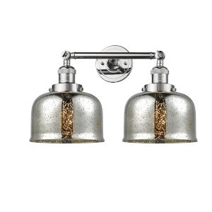 Large Bell Polished Chrome Two-Light Bath Vanity with Silver Plated Mercury Glass