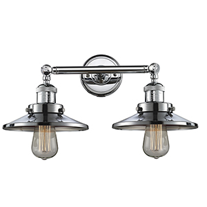 Railroad Polished Chrome Two-Light Bath Vanity