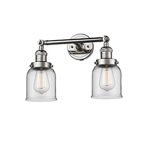 Small Bell Polished Nickel Two-Light Bath Vanity with Clear Bell Glass