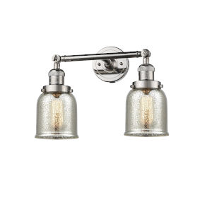 Small Bell Polished Nickel Two-Light Bath Vanity