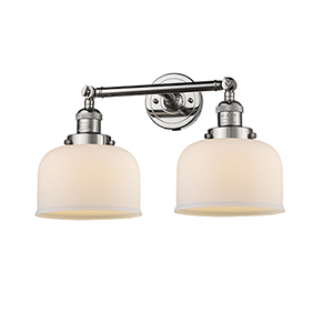 Large Bell Polished Nickel Two-Light LED Bath Vanity with Matte White Cased Dome Glass