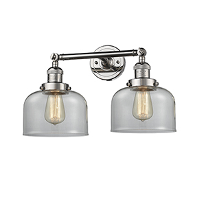 Large Bell Polished Nickel Two-Light Bath Vanity with Clear Dome Glass
