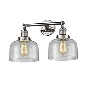 Large Bell Polished Nickel Two-Light LED Bath Vanity with Seedy Dome Glass