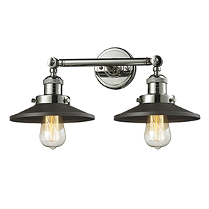 Railroad Polished Nickel Two-Light Wall Sconce with Matte Black Metal Shade