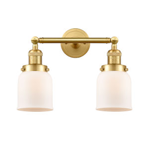 Franklin Restoration Satin Gold 16-Inch Two-Light Bath Vanity with Matte White Glass Shade