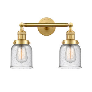 Franklin Restoration Satin Gold 16-Inch Two-Light LED Bath Vanity with Seedy Glass Shade