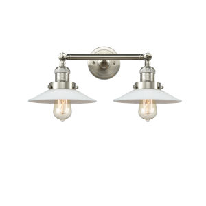 Halophane Brushed Satin Nickel Two-Light Bath Vanity