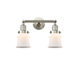Franklin Restoration Brushed Satin Nickel 17-Inch Two-Light LED Bath Vanity with Matte White Canton Shade