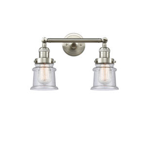 Franklin Restoration Brushed Satin Nickel 17-Inch Two-Light LED Bath Vanity with Seedy Glass Shade