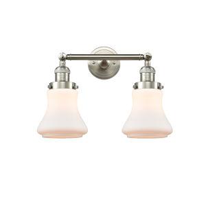 Franklin Restoration Brushed Satin Nickel 17-Inch Two-Light LED Bath Vanity with Matte White Bellmont Shade