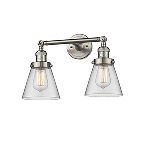 Small Cone Brushed Satin Nickel 16-Inch Two-Light Bath Vanity with Clear Cone Glass
