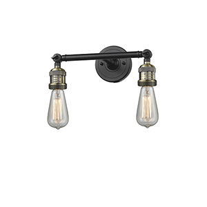 Bare Bulb Black Antique Brass 11-Inch Two-Light Bath Vanity