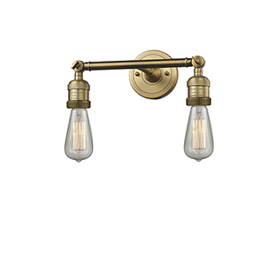 Bare Bulb Brushed Brass Two-Light Bath Vanity