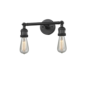 Bare Bulb Black 11-Inch Two-Light Bath Vanity
