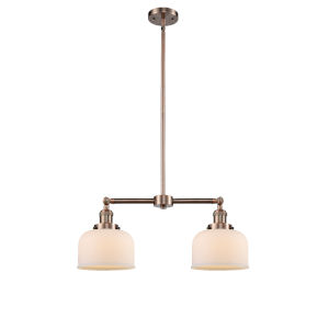 Large Bell Antique Copper 21-Inch Two-Light Chandelier
