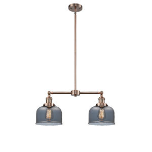 Large Bell Antique Copper Two-Light Chandelier with Plated Smoked Glass