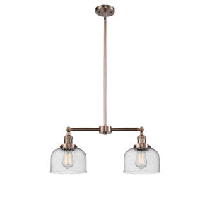 Large Bell Antique Copper Two-Light Chandelier with Seedy Glass