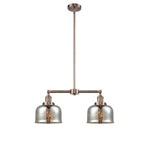 Large Bell Antique Copper 24-Inch Two-Light Chandelier