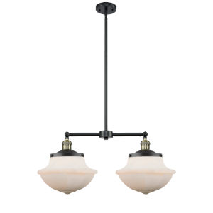 Franklin Restoration Black Antique Brass Two-Light LED Chandelier