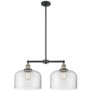 X-Large Bell Black Antique Brass Two-Light Chandelier with Clear Glass