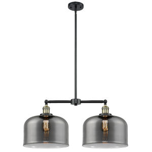 X-Large Bell Black Antique Brass Two-Light Chandelier with Plated Smoked Glass