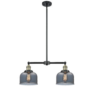 Large Bell Black Antique Brass Two-Light Chandelier with Plated Smoked Glass