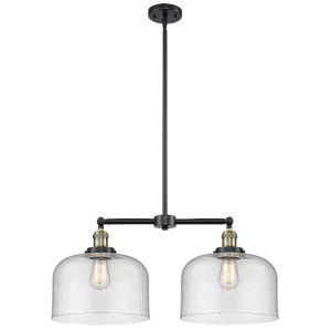 X-Large Bell Black Antique Brass Two-Light Chandelier with Seedy Glass