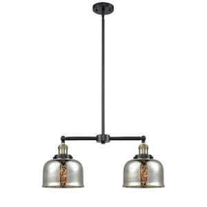 Large Bell Black Antique Brass 24-Inch Two-Light Chandelier