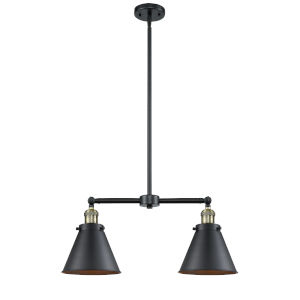 Franklin Restoration Matte Black Antique Brass Two-Light LED Chandelier