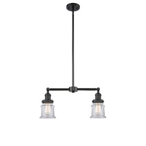 Franklin Restoration Matte Black 21-Inch Two-Light LED Chandelier with Small Clear Canton Shade