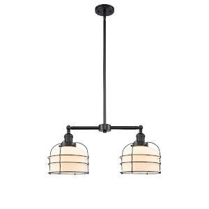 Large Bell Cage Matte Black Two-Light LED Chandelier