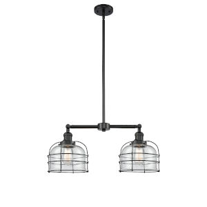 Large Bell Cage Matte Black Two-Light Chandelier with Clear Glass