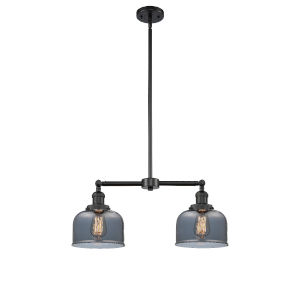 Large Bell Matte Black Two-Light Chandelier with Plated Smoked Glass