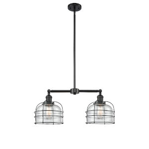 Large Bell Cage Matte Black Two-Light Chandelier with Seedy Glass