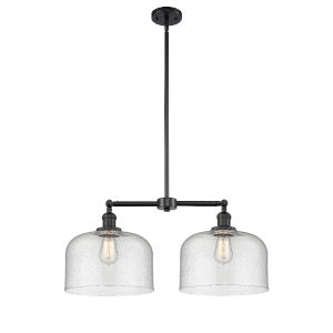 X-Large Bell Matte Black Two-Light LED Chandelier with Seedy Glass