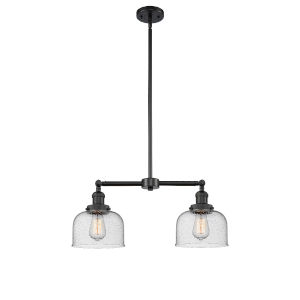 Large Bell Matte Black Two-Light Chandelier with Seedy Glass