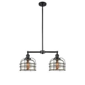 Large Bell Cage Matte Black Two-Light LED Chandelier with Silver Plated Mercury Glass